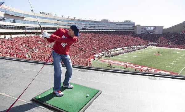 Stricker at Wisconsin Football Halftime